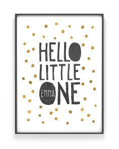 Babyposter Hello - Art Print/ Kunstdruck mit dem eigenen Namen des Kindes im Konfetti Design. Personalisiertes Geschenk, DIY Geschenk mit eigenem Namen, verschiedene Farbkombinationen möglich