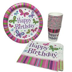 Happy Birthday Party Pack 18 Plates, 20 Napkins 12 Hot/Cold Cups (Butterfly) Party