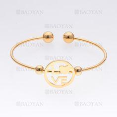 pulsera con letra love de dorado en acero- SSBTG465500