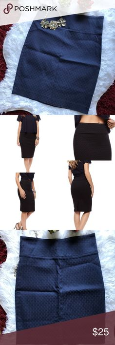Just In 🌻Margaret M slimming Pencil Navy Skirt🌻 For a clean and fashionable look, Navy Pencil Skirt is all you need. Whatever your figure and size, this skirt will transform you into the professional and refined woman that you are, while offering a design that is contemporary and trendy.  This skirt can be worn for many different occasions and all day long. Yes, you heard right: ALL DAY LONG. The fabric is stretchy, soft to the touch and wear-resistant! Margaret M Skirts Pencil