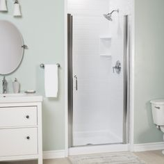 Bath Fitter took this tiny ensuite shower and gave it a major facelift in ONE day! #bathfitter #showerrenovations Bathtub Remodel, Shower Remodel, Bath Fitter, Shower Makeover, Shower Units, Bathtub Shower, Custom Shower, Master Bath, Tall Cabinet Storage