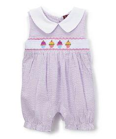 Look what I found on #zulily! Lavender Seersucker Cupcake Smocked Romper - Infant & Toddler #zulilyfinds