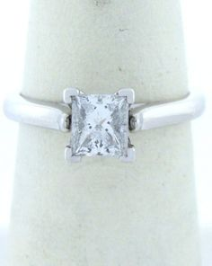 .70ct PRINCESS DIAMOND ENGAGEMENT RING 14K WHITE GOLD SOLITAIRE