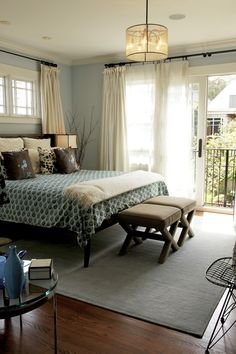 bd home | san francisco | bedrooms, drum light, teal duvet, cream drapes, taupe rug, robin's egg blue walls, chocolate brown pillows