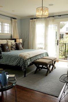 Bd Home | San Francisco | Bedrooms, Drum Light, Teal Duvet, Cream Drapes