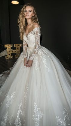 olivia bottega 2018 bridal long sleeves off rhe shoulder sweetheart neckline heavily embellished bodice princess ball gown wedding dress sheer lace button back royal train (4) mv -- Olivia Bottega 2018 Wedding Dresses #weddinggowns
