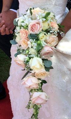 Ljuvlig droppformad brudbukett (klase) i milda pastellfärger. Rosa och crèmefärgade rosor, aprikos nejlika, vit lilja, vit alstromeria, vit riddarsporre, brudslöja, murgröna, lammöra och eukalyptus. Romantisk bukett i vacker färgkombination i hållare med klätt handtag.