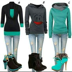 Green with jean wear Estilo Fashion, Funky Fashion, Fashion Looks, Womens Fashion, Teal Outfits, Dress Outfits, Cute Outfits, Dresses, Teal Blue