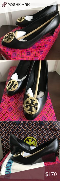 """Women's Tory Burch """"Alice 65MM Wedge"""" This wedge pump is brand NEW, excellent condition and shows no visible signs of wear. A signature double T medallion polishes the supple leather style. It comes with a box, dust bag and paper bag. Stacked heel. Leather upper and lining. Synthetic sole. Tory Burch Shoes Wedges"""
