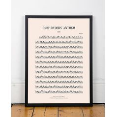 Ruff Ryders' Anthem , DMX, bedroom art, kitchen art, bar art, INSTANT DOWNLOAD, sheet music, studio art, bathroom art