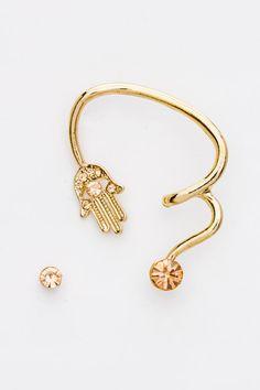 Hamsa Hand Ear Cuff Earring (Gold Tone) $15.00