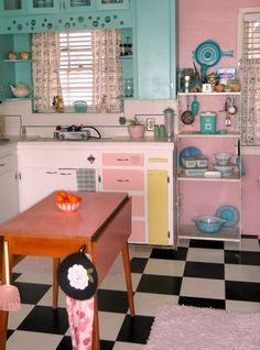 wonderful kitsch kitchen! Love these colours xx