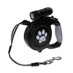 Dog Retractable Leash IDEAPRO 26ft Training Dog Leash With 9 LED Detachable Flashlight With Comfortable Grip  One Button Brake  Lock up to 130lb dogs ** See this great product.