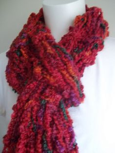 Chili Peppers Red Knit Scarf  Drop Stitch Knit  by AuntBsAttic