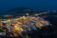 Santorini Greece Thira Night Lights #photo by: tomsjogren