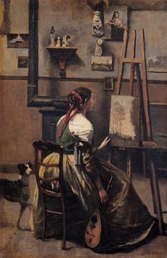 The Artist's Studio: 1868-1870 by Jean Baptiste Camille Corot (Musee du Louvre, Paris, France) - Barbizon School/Realism