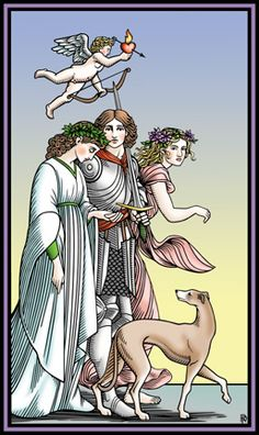 The Lovers from the Tarot of the Sevenfold Mystery - a classic tarot image in that the 'hero' in the middle must choose between two lovers.  One who represents virtue and the other sensuality......