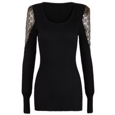 Black Long Sleeve Metallic Yoke Embroidered Shoulder Sweater