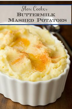 The easiest mashed potatoes ever, with no last minute fussing! These Slow Cooker Buttermilk Mashed Potatoes are super delicious and can be made a few days in advance. #slowcooker #mashedpotatoes #thanksgivingsides Buttermilk Mashed Potatoes, Easy Mashed Potatoes, Slow Cooker Recipes, Crockpot Recipes, Cooking Recipes, Slow Cooking, Hash Tag, Potato Dishes, Potato Recipes