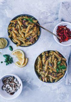 Vegan Cashew Pesto Chickpea Pasta with Sun-Dried Tomatoes