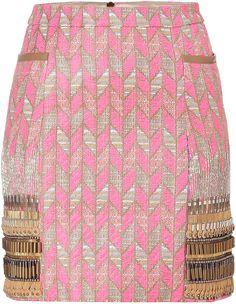 Matthew Williamson  Fluro Pink Embroidered Miniskirt
