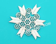 Macaroni Snowflake - 20 - Click on image to see step-by-step tutorial.