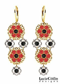 Stunning Floral Dangle Earrings Designed by Lucia Costin with .925 Sterling Silver 4 Petal Flower Elements, Filigree Details, Red and Jet Black Swarovski Crystals; .925 Sterling Silver Plated with 14K Yellow Gold; Handmade in USA Lucia Costin. $90.00. Unique jewelry handmade in USA. Chandelier earrings beautifully designed by Lucia Costin. Update your everyday style with inspiration when wearing this piece of jewelry. Splendid combination of dangle elements. Decorated with ...