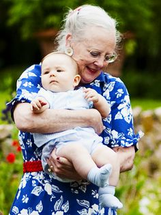 → Queen Margrethe II of Denmark with her grandson, Prince Vincent, at the annual photo opportunity at Gråsten Palace in 2011.