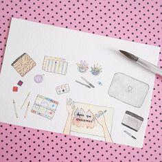 """181 curtidas, 8 comentários - Nadine Guerra • Atelier (@nadineguerraatelier) no Instagram: """"Bom dia! Essa é a minha área de trabalho ilustrada 💖"""""""