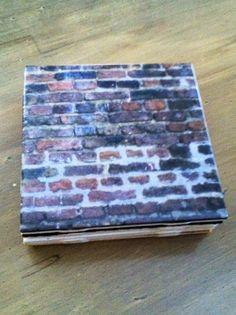 Brick Wall Pattern Ceramic Tile Coaster (4 count)