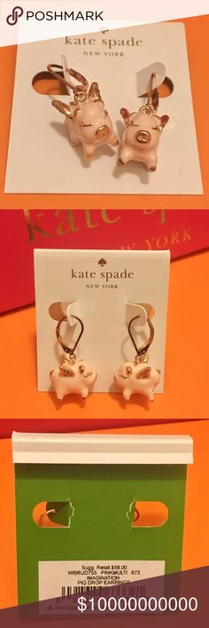 Kate Spade Imagination 🐷 Pig Drop Earrings 100% Authentic ☑ Brand New with tag; never used.  No box. No dustbag.  MSRP over $62 including tax.  Price Firm. No lowball, No trade!! kate spade Jewelry Earrings