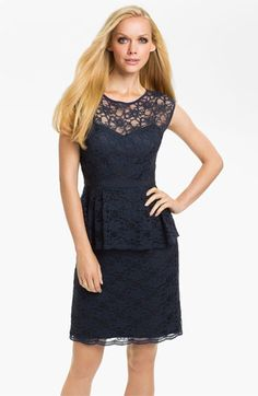Eliza J Peplum Lace Overlay Sheath Dress available at #Nordstrom. I may be crazy, but I kind of like this as a bridesmaids dress