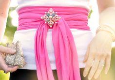 pink sash obi belt  with vintage brooch