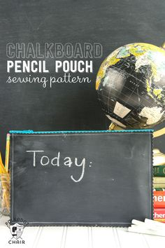 A free tutorial for a pencil pouch made from chalkboard fabric, a chalkboard fabric pencil pouch sewing pattern, cute for back to school gifts