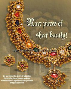 Jewellery Designs: Navaratan Stones Tussi Set by Kothari