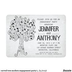 Shop carved tree modern engagement party invitations created by jinaiji. Illustrated Wedding Invitations, Heart Wedding Invitations, Rehearsal Dinner Invitations, Engagement Party Invitations, Wedding Invitation Design, Bridal Shower Invitations, Wedding Stationary, Carton Invitation, Tree Carving