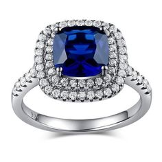 925 Sterling Silver with Square Royal Blue Zircon Womens Ring (325 RON) ❤ liked on Polyvore featuring jewelry, rings, sterling silver rings, zircon ring, royal blue jewelry, square ring and sterling silver jewellery