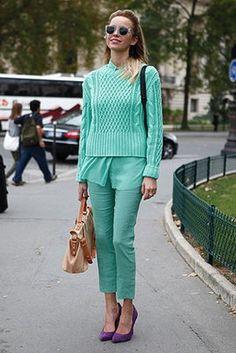 Street Style 2012: Paris - purple heels / teal outfit