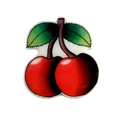 Rockabilly Cherry Brooch by Jubly Umph - available at Ruff n Ready - - Rockabilly, Vintage & Tattoo inspired Clothing, Art, Home Wares and Accessories. Rockabilly Tattoos, Cherry Necklace, Shrinky Dinks, Stainless Steel Jewelry, Pin Up Style, Sugar Skull, Yoshi, Brooches, Cherries