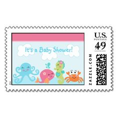 Under the Sea Creatures Baby Shower Stamps/Postage