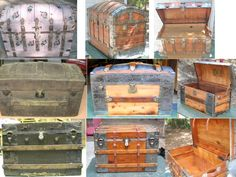 Examples of refinished and restored antique steamer trunks from our customers - Brettuns Village supplied the parts and hardware Vintage Chest, Vintage Trunks, Vintage Suitcases, Antique Trunks, Trunk Redo, Trunk Makeover, Furniture Makeover, Repurposed Furniture, Painted Furniture