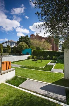 floating lawn above recessed gardens
