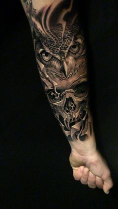 Owl and skull tattoo I did in fayetteville NC tattoo mann Tattoo, Tattoo Shop Near Me, Tattoos Fayetteville NC, JoanZunigaTattoo Tattoo Bicep, Forarm Tattoos, Cool Forearm Tattoos, Badass Tattoos, Hand Tattoos, I Tattoo, Forearm Tattoo Sleeves, Tatto Man, Gas Mask Tattoo
