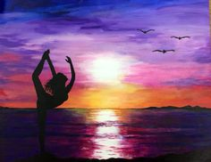 Dancer silhouette in sunset ☀️ acrylic.