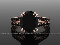 Oval 2.80 Carat Black Diamond Engagement Ring, Split Shank 18K Rose Gold Natural Black Diamond Ring RE0067BK