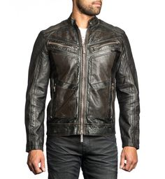 "DETAILS    • Affliction Jacket    • Self Perforated and Accordion Detailing    • Self Patch with Black Embroidery    • White and Charcoal Distressed Water Base Print    • Black Wash CONTENT AND CARE    • 100% Lamb Skin Leather    • Machine Wash Cold    • Imported MODEL    • Height = 5'11""    • Chest = 41""    • Waist = 32""    • Wearing size medium"