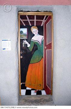 Italy, Liguria, Valloria, Painted door