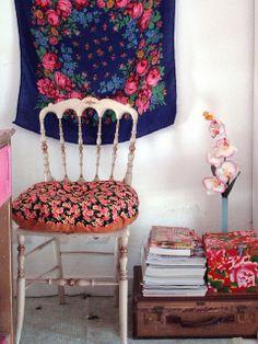 vintage suitcase and floral mash-up.