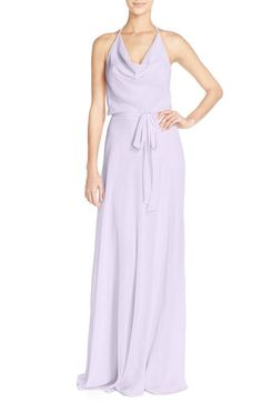nouvelle AMSALE Cowl Neck Chiffon Halter Gown available at #Nordstrom