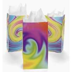 Tie-Dyed Gift Bags (1 dz). Great Kids Party Favor Bags.